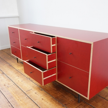 Red Finnply Cabinet